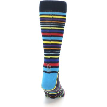 Image of Black Multi-Color Stripes Men's Dress Socks (back-19)
