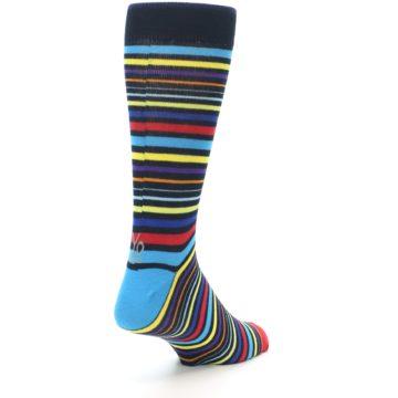 Image of Black Multi-Color Stripes Men's Dress Socks (side-1-back-21)
