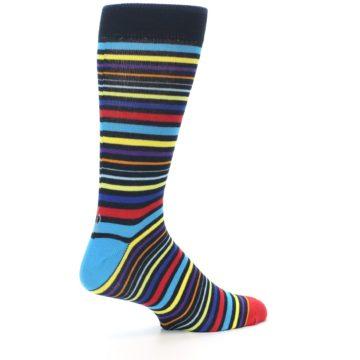 Image of Black Multi-Color Stripes Men's Dress Socks (side-1-23)