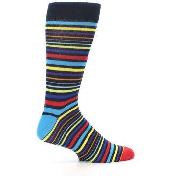 Image of Black Multi-Color Stripes Men's Dress Socks (side-1-24)