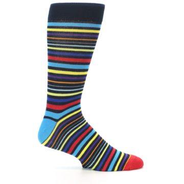 Image of Black Multi-Color Stripes Men's Dress Socks (side-1-25)