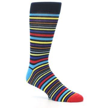 Image of Black Multi-Color Stripes Men's Dress Socks (side-1-26)