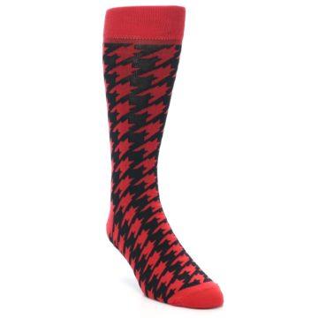 Image of Red Black Houndstooth Men's Dress Socks (side-1-front-02)