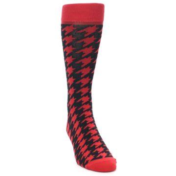 Image of Red Black Houndstooth Men's Dress Socks (side-1-front-03)