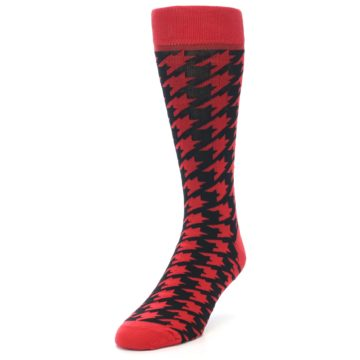 Image of Red Black Houndstooth Men's Dress Socks (side-2-front-07)