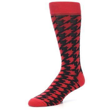 Image of Red Black Houndstooth Men's Dress Socks (side-2-09)