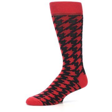 Image of Red Black Houndstooth Men's Dress Socks (side-2-10)