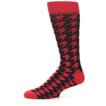 Image of Red Black Houndstooth Men's Dress Socks (side-2-11)