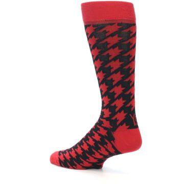 Image of Red Black Houndstooth Men's Dress Socks (side-2-back-14)