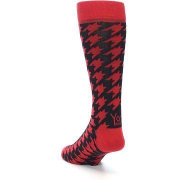 Image of Red Black Houndstooth Men's Dress Socks (side-2-back-16)