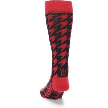 Image of Red Black Houndstooth Men's Dress Socks (back-17)