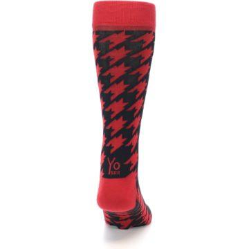 Image of Red Black Houndstooth Men's Dress Socks (back-19)