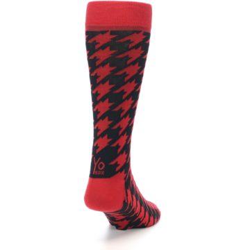 Image of Red Black Houndstooth Men's Dress Socks (side-1-back-20)