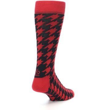 Image of Red Black Houndstooth Men's Dress Socks (side-1-back-21)