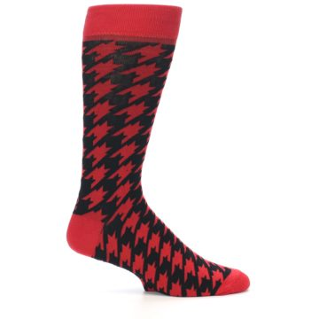 Image of Red Black Houndstooth Men's Dress Socks (side-1-25)