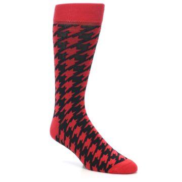 Image of Red Black Houndstooth Men's Dress Socks (side-1-27)
