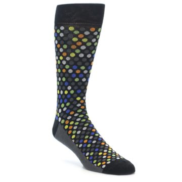 Image of Black Multi-Color Polka Dots Men's Dress Socks (side-1-front-01)