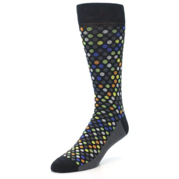 Image of Black Multi-Color Polka Dots Men's Dress Socks (side-2-front-08)