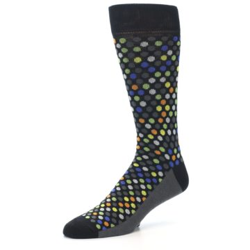 Image of Black Multi-Color Polka Dots Men's Dress Socks (side-2-09)