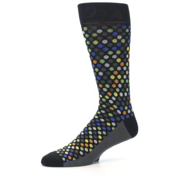 Image of Black Multi-Color Polka Dots Men's Dress Socks (side-2-10)