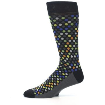 Image of Black Multi-Color Polka Dots Men's Dress Socks (side-2-11)