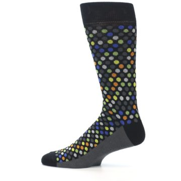 Image of Black Multi-Color Polka Dots Men's Dress Socks (side-2-12)
