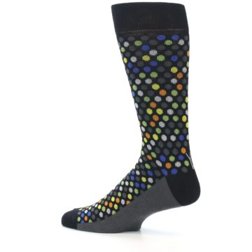 Image of Black Multi-Color Polka Dots Men's Dress Socks (side-2-13)