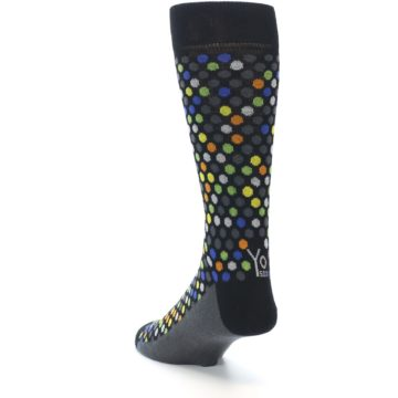 Image of Black Multi-Color Polka Dots Men's Dress Socks (side-2-back-16)