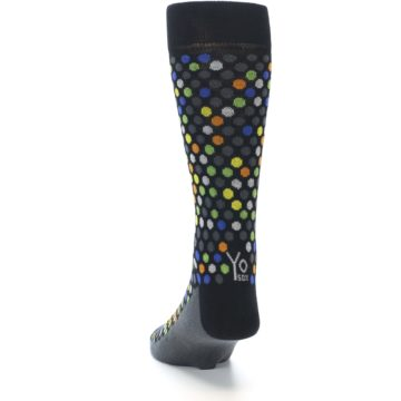 Image of Black Multi-Color Polka Dots Men's Dress Socks (back-17)