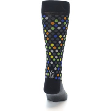 Image of Black Multi-Color Polka Dots Men's Dress Socks (back-19)