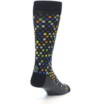 Image of Black Multi-Color Polka Dots Men's Dress Socks (side-1-back-21)