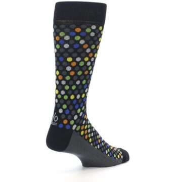 Image of Black Multi-Color Polka Dots Men's Dress Socks (side-1-back-22)