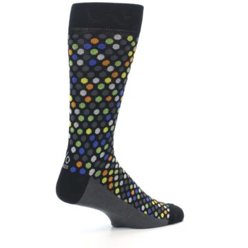Image of Black Multi-Color Polka Dots Men's Dress Socks (side-1-23)