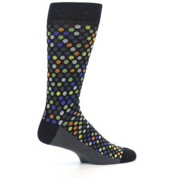 Image of Black Multi-Color Polka Dots Men's Dress Socks (side-1-24)