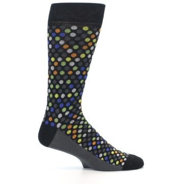Image of Black Multi-Color Polka Dots Men's Dress Socks (side-1-25)