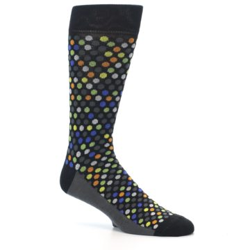Image of Black Multi-Color Polka Dots Men's Dress Socks (side-1-26)