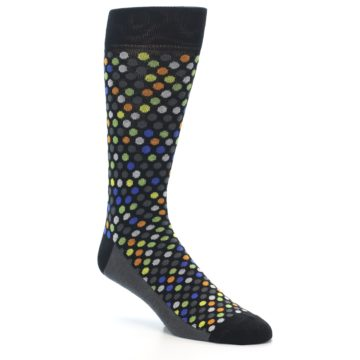 Image of Black Multi-Color Polka Dots Men's Dress Socks (side-1-27)
