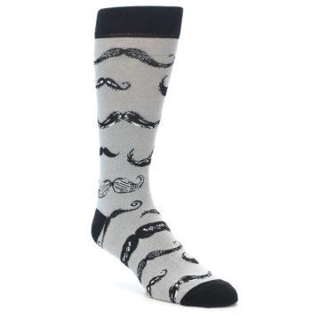 Image of Grey Black Mustache Men's Dress Socks (side-1-front-01)