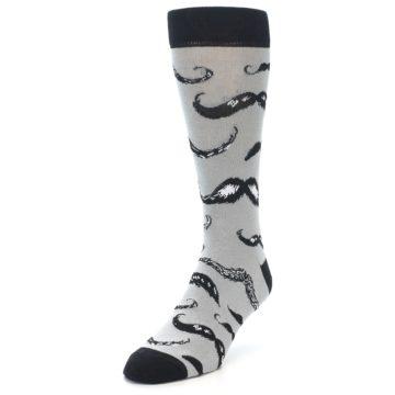 Image of Grey Black Mustache Men's Dress Socks (side-2-front-07)