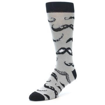 Image of Grey Black Mustache Men's Dress Socks (side-2-front-08)