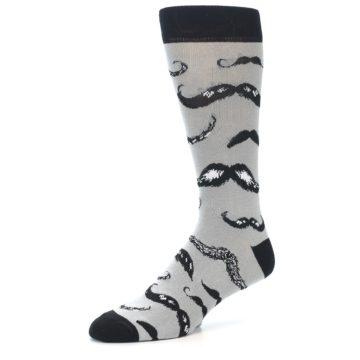 Image of Grey Black Mustache Men's Dress Socks (side-2-09)