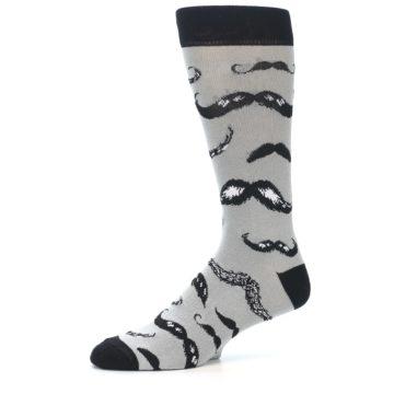 Image of Grey Black Mustache Men's Dress Socks (side-2-10)