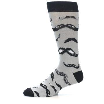 Image of Grey Black Mustache Men's Dress Socks (side-2-11)
