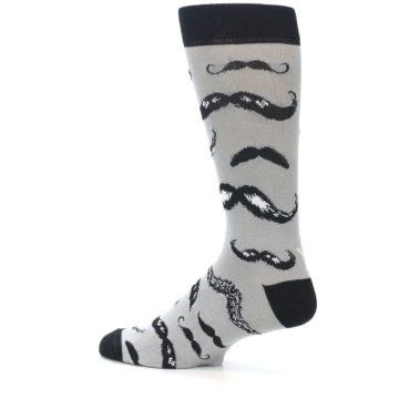 Image of Grey Black Mustache Men's Dress Socks (side-2-13)