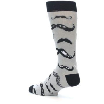 Image of Grey Black Mustache Men's Dress Socks (side-2-back-14)