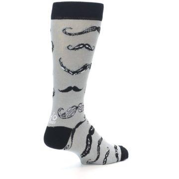 Image of Grey Black Mustache Men's Dress Socks (side-1-back-22)