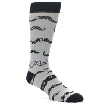 Image of Grey Black Mustache Men's Dress Socks (side-1-27)