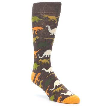 Image of Brown Orange Dinosaurs Men's Dress Socks (side-1-front-01)