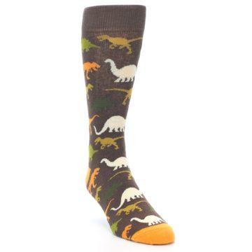 Image of Brown Orange Dinosaurs Men's Dress Socks (side-1-front-02)