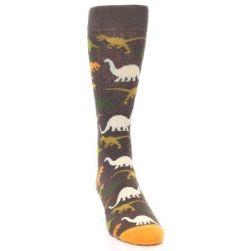 Image of Brown Orange Dinosaurs Men's Dress Socks (side-1-front-03)